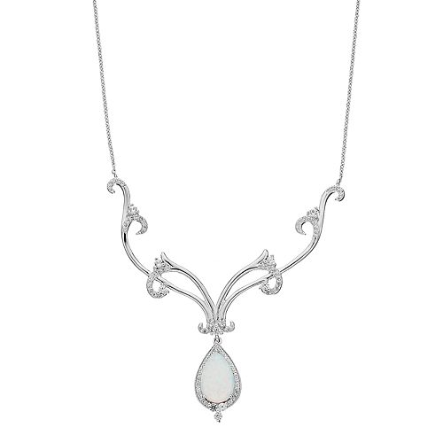 Sterling Silver Lab-Created Opal & Lab-Created White Sapphire Filigree Y Necklace