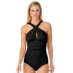 Women's Cole of California D-Cup Cross-Front One-Piece Swimsuit
