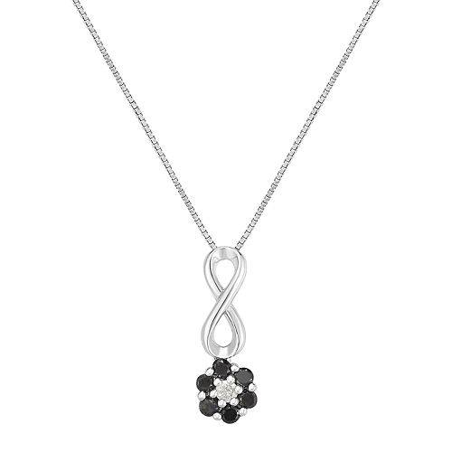 Sterling Silver 1/4 Carat T.W. Black & White Diamond Cluster Infinity Pendant Necklace