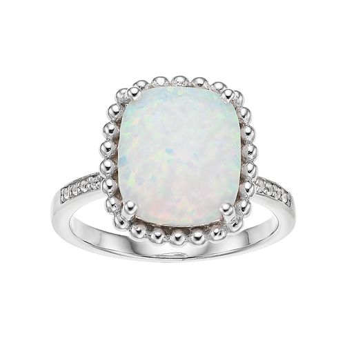 Sterling Silver Lab-Created Opal & Lab-Created White Sapphire Square Ring