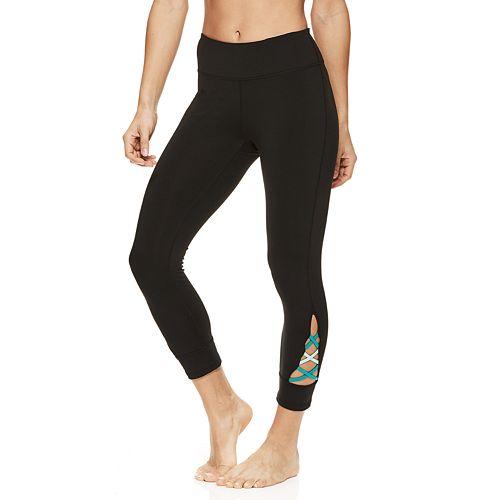 fcc4ca4436 Women's Gaiam Om Pop Strappy Yoga Capri Leggings