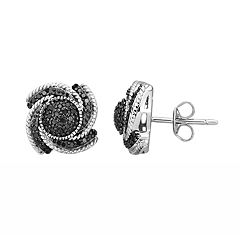 Sterling Silver 1/4 Carat T.W. Black Diamond Tornado Stud Earrings