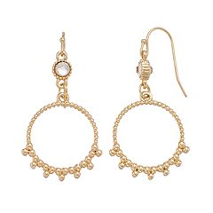 LC Lauren Conrad Beaded Texture Nickel Free Hoop Drop Earrings
