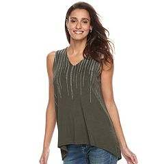 Women's Apt. 9® Embellished High-Low Tunic Tank