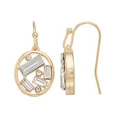 LC Lauren Conrad Baguette Cluster Nickel Free Oval Drop Earrings