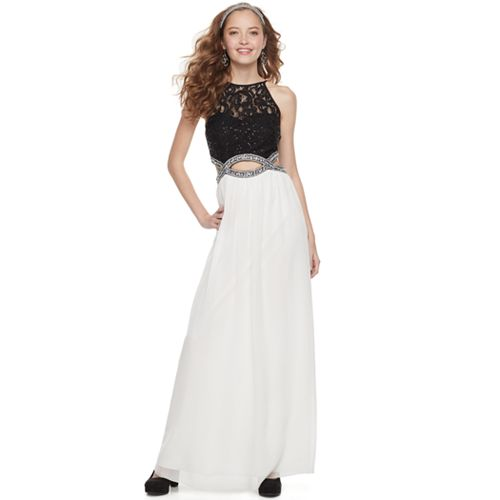 Juniors' Speechless Lace Cutout Waist Halter Maxi Prom Dress