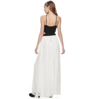 Juniors' Speechless Lace Cutout Waist Halter Maxi Prom Dress
