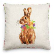 Celebrate Easter Together Floral Rabbit Reversible Throw Pillow