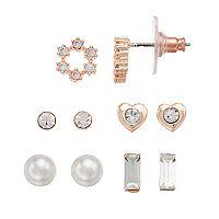 LC Lauren Conrad Cubic Zirconia Heart & Wreath Nickel Free Stud Earring Set