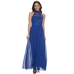 Juniors' Speechless Filigree Lace Evening Dress