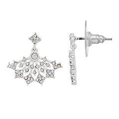 LC Lauren Conrad Simulated Crystal Fan Nickel Free Drop Earrings