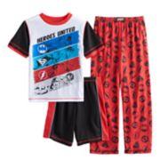 Boys 6-16 Superhero Logos 3-Piece Pajama Set
