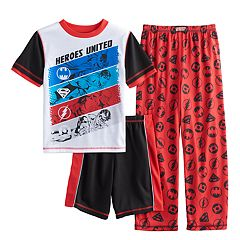 Boys 6-16 Superhero Logos 3-Piece Pajama Set