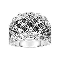 Sterling Silver 1/3 Carat T.W. Black & White Diamond Filigree Ring