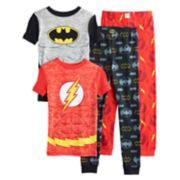Boys 6-12 Batman & Flash 4-Piece Pajama Set