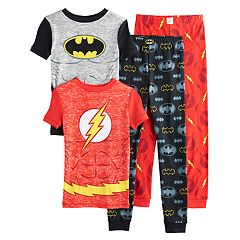 Boys 6-12 Batman & Flash 4-Piece Pajama Set
