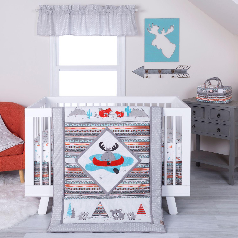 prodigious Moose Baby Bedding Sets Part - 17: Moose Canoe Crib Bedding Set