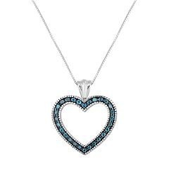 Sterling Silver 1/2 Carat T.W. Blue Diamond Heart Pendant Necklace