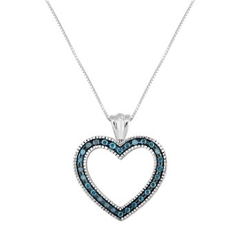 Sterling silver 12 carat tw blue diamond heart pendant necklace mozeypictures Image collections