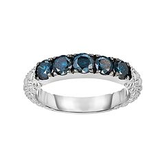 Sterling Silver 1 Carat T.W. Blue Diamond Textured Ring