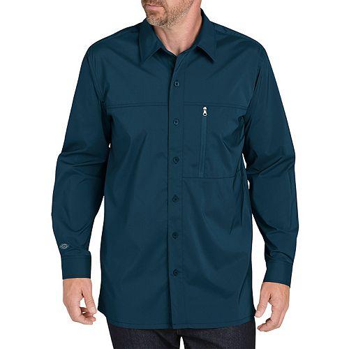 Men's Dickies Regular-Fit Zip-Pocket Moisture-Wicking Button-Down Work Shirt