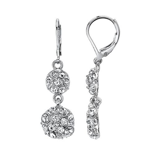 1928 Pave Crystal Double Drop Earrings