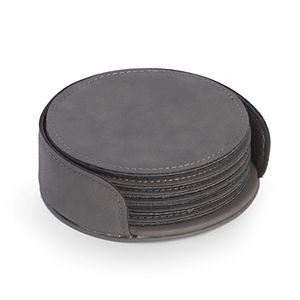 Bey-Berk Leatherette Coaster Set
