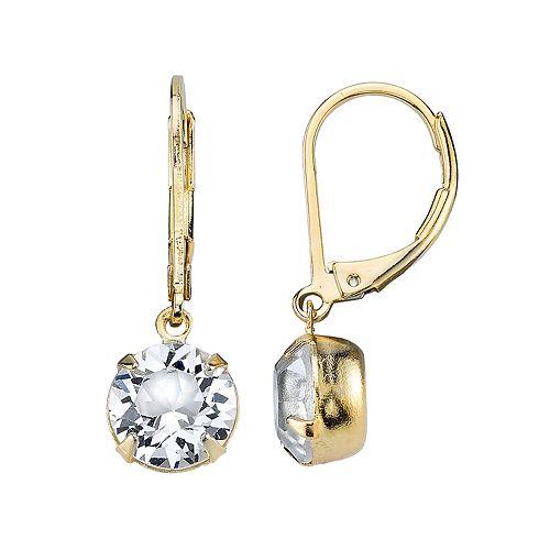 1928 Crystal Gold-Tone Drop Earrings