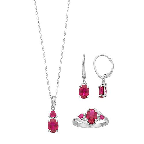 Sterling Silver Lab-Created Ruby & Diamond Accent Jewelry Set