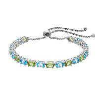 Sterling Silver Blue Topaz & Peridot Bolo Bracelet