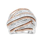 Sterling Silver 1 Carat T.W. Champagne & White Diamond Multi Row Ring