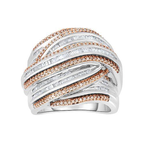 Sterling Silver 1 Carat T.W. Champagne & White Diamond Multi Row Ring