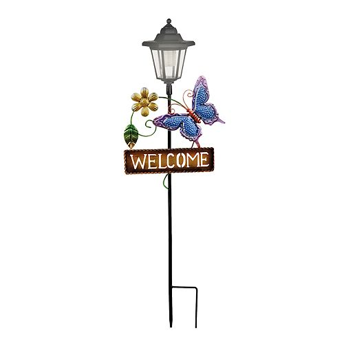 "Butterfly Solar Powered ""Welcome"" Sign Garden Stake"