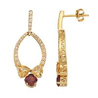 14k Gold Over Silver Citrine, Garnet & Cubic Zirconia Drop Earrings