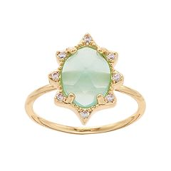 LC Lauren Conrad Cubic Zirconia & Oval Stone Ring