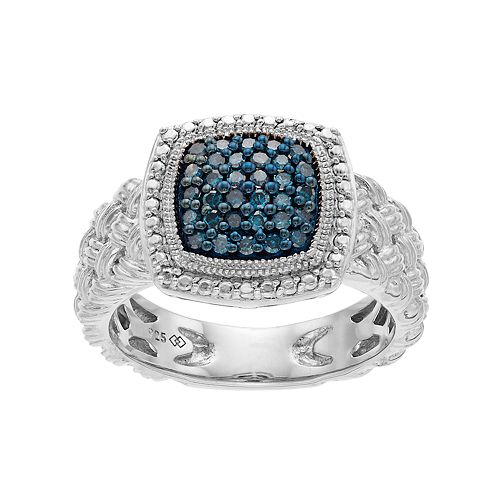 Sterling Silver 1/4 Carat T.W. Blue Diamond Cluster Ring