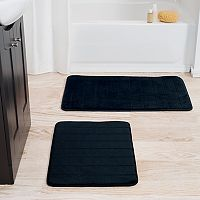 Portsmouth Home 2-piece Memory Foam Striped Bath Mat Set