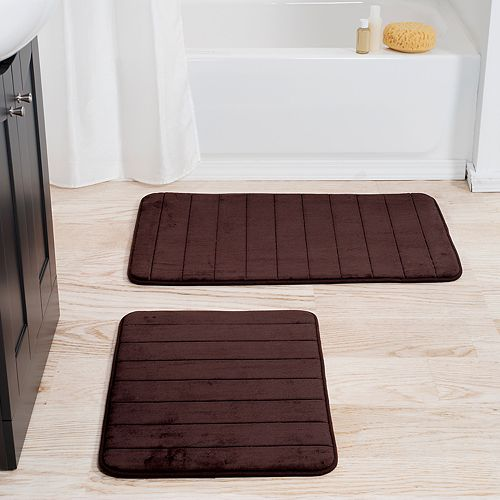 Portsmouth Home 2-piece Memory Foam Striped Bath Mat Set