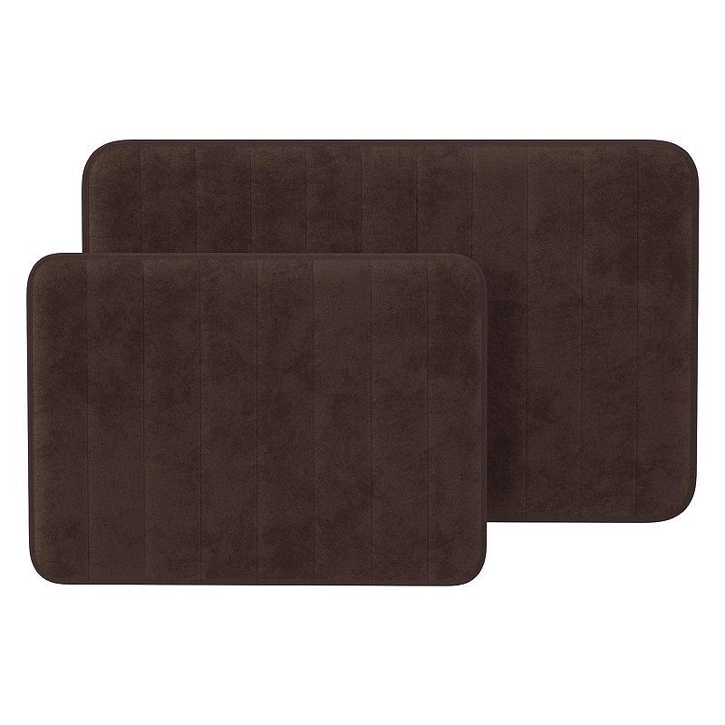 Portsmouth Home 2-piece Memory Foam Striped Bath Mat Set, Brown, 2 Pc
