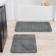 Portsmouth Home 2 pc Memory Foam Striped Bath Mat Set