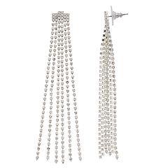 Simulated Crystal Nickel Free Fringe Drop Earrings