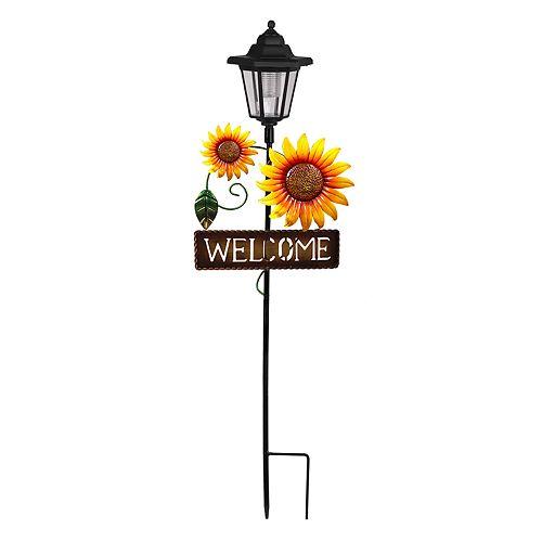"Sunflower Solar Powered ""Welcome"" Sign Garden Stake"