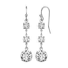 1928 Crystal Silver-Tone Linear Earrings