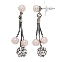 Simply Vera Vera Wang Pink Simulated Pearl Linear Drop Earrings