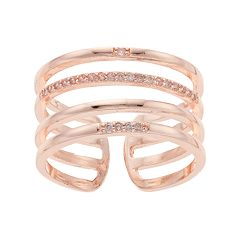 LC Lauren Conrad Cubic Zirconia Multi Row Open Back Ring