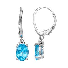 Sterling Silver Swiss Blue Topaz & Diamond Accent Drop Earrings