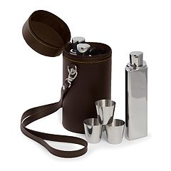 Bey-Berk Leatherette Flask Set