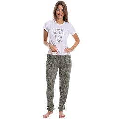 Juniors' Wallflower Pajamas: Hatchi Jogger Pants & Graphic Tee 2 pc PJ Set