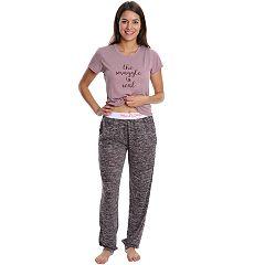 Juniors' Wallflower Pajamas: Hatchi Jogger Pants & Graphic Tee 2-Piece PJ Set
