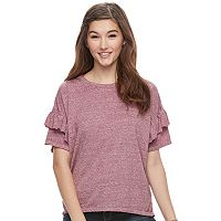 Juniors' SO® Double Ruffle Top